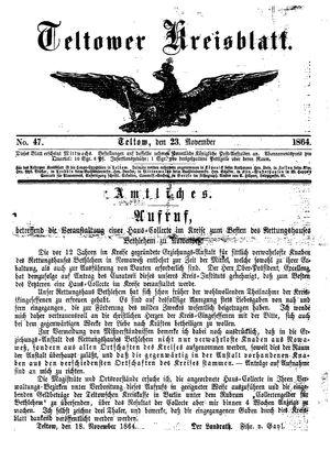 Teltower Kreisblatt vom 23.11.1864