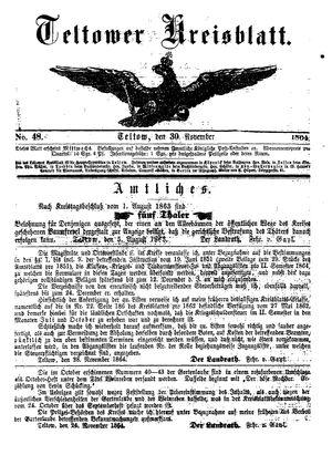 Teltower Kreisblatt vom 30.11.1864