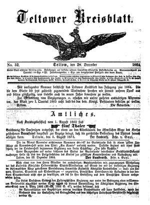 Teltower Kreisblatt vom 28.12.1864