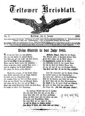 Teltower Kreisblatt vom 04.01.1865