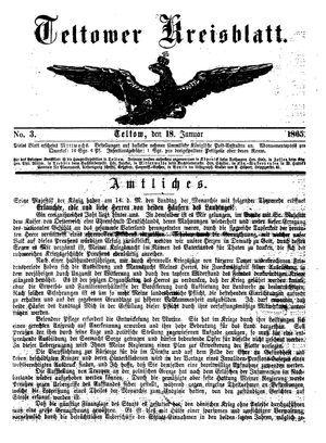 Teltower Kreisblatt vom 18.01.1865