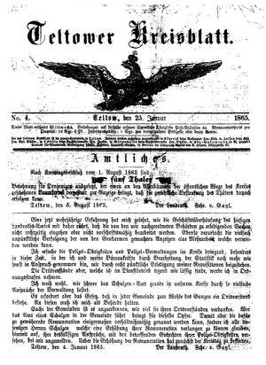 Teltower Kreisblatt vom 25.01.1865