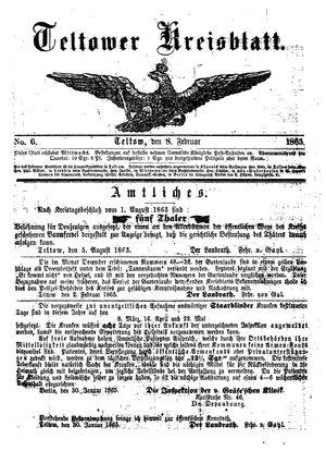 Teltower Kreisblatt vom 08.02.1865