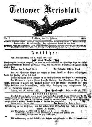 Teltower Kreisblatt vom 15.02.1865
