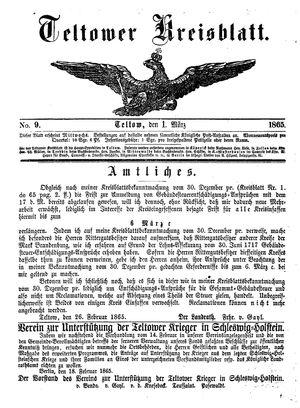 Teltower Kreisblatt vom 01.03.1865