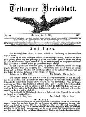 Teltower Kreisblatt vom 08.03.1865