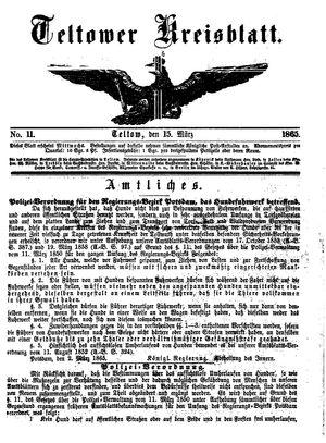 Teltower Kreisblatt vom 15.03.1865