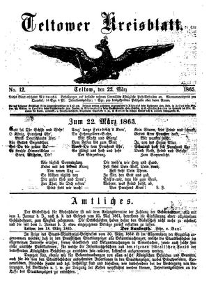 Teltower Kreisblatt vom 22.03.1865