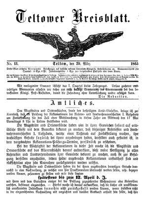 Teltower Kreisblatt vom 29.03.1865