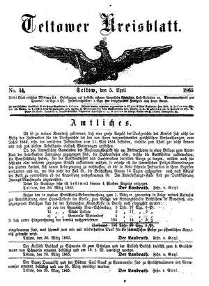 Teltower Kreisblatt vom 05.04.1865