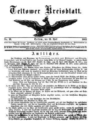 Teltower Kreisblatt vom 19.04.1865