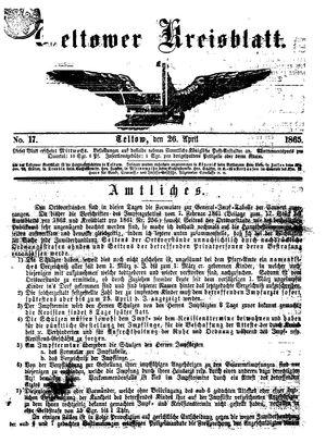 Teltower Kreisblatt vom 26.04.1865
