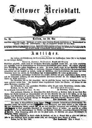 Teltower Kreisblatt vom 24.05.1865