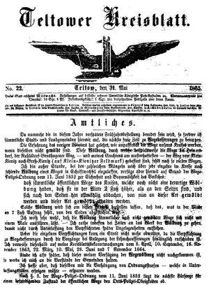 Teltower Kreisblatt on May 31, 1865