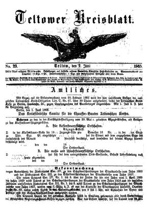 Teltower Kreisblatt vom 07.06.1865