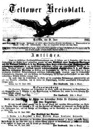 Teltower Kreisblatt vom 21.06.1865