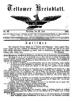 Teltower Kreisblatt vom 28.06.1865