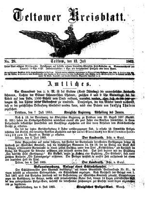 Teltower Kreisblatt vom 12.07.1865