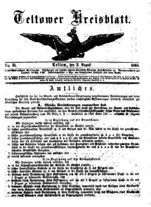 Teltower Kreisblatt vom 02.08.1865