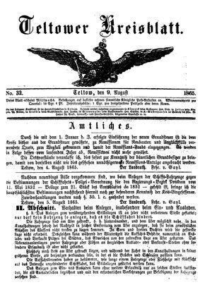 Teltower Kreisblatt vom 09.08.1865