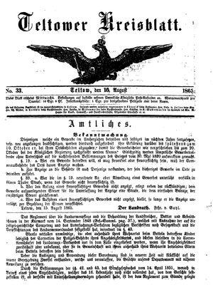 Teltower Kreisblatt vom 16.08.1865