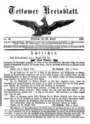 Teltower Kreisblatt vom 30.08.1865