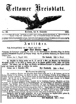 Teltower Kreisblatt vom 06.09.1865