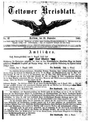 Teltower Kreisblatt vom 13.09.1865