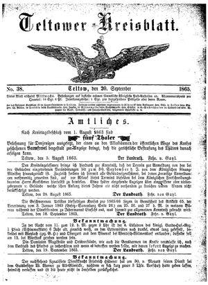 Teltower Kreisblatt vom 20.09.1865