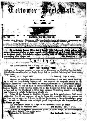 Teltower Kreisblatt vom 27.09.1865