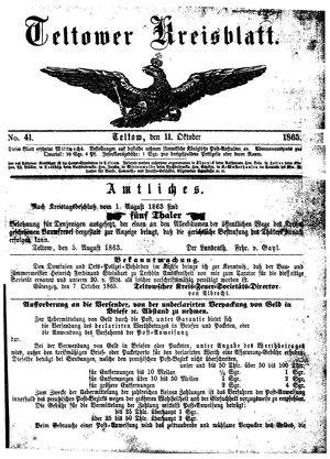 Teltower Kreisblatt vom 11.10.1865