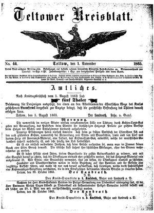 Teltower Kreisblatt vom 01.11.1865