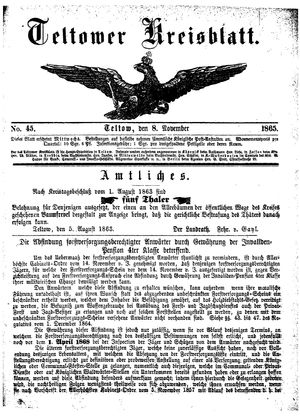 Teltower Kreisblatt vom 08.11.1865