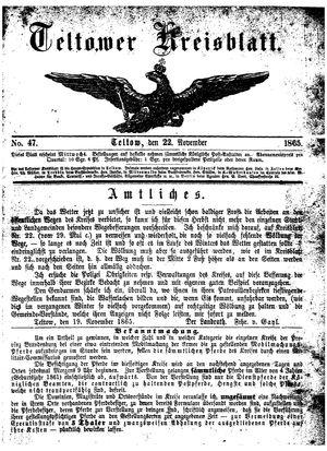 Teltower Kreisblatt vom 22.11.1865