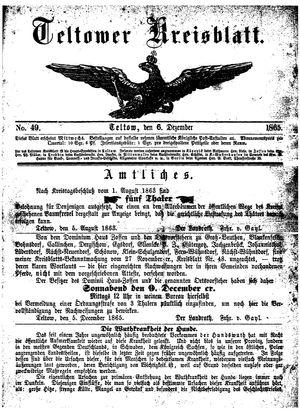 Teltower Kreisblatt vom 06.12.1865