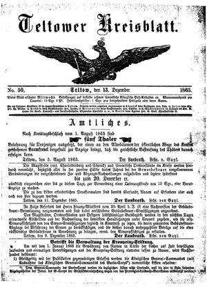Teltower Kreisblatt vom 13.12.1865