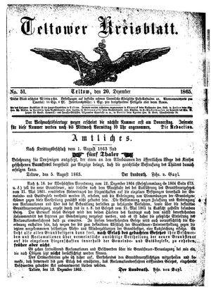 Teltower Kreisblatt vom 20.12.1865