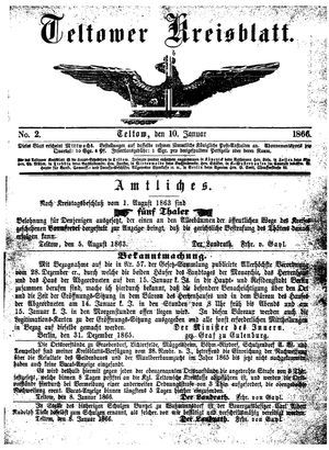 Teltower Kreisblatt vom 10.01.1866