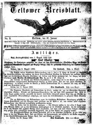 Teltower Kreisblatt vom 17.01.1866
