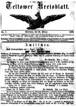 Teltower Kreisblatt vom 14.02.1866