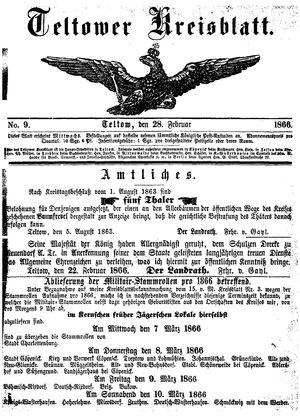 Teltower Kreisblatt vom 28.02.1866