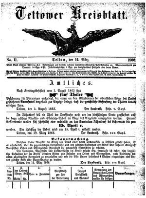 Teltower Kreisblatt on Mar 14, 1866