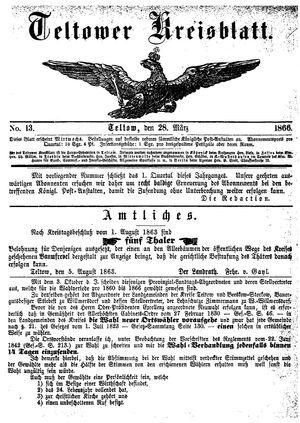 Teltower Kreisblatt on Mar 28, 1866