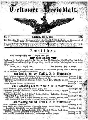 Teltower Kreisblatt on Apr 4, 1866