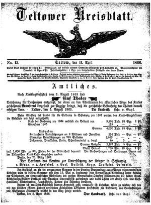 Teltower Kreisblatt vom 11.04.1866