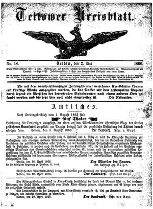 Teltower Kreisblatt vom 02.05.1866