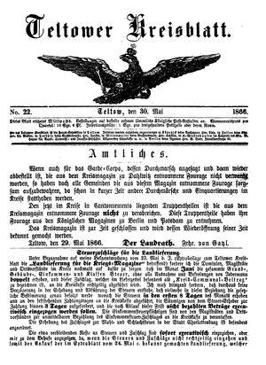 Teltower Kreisblatt vom 30.05.1866