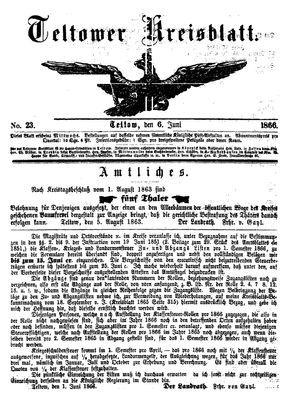 Teltower Kreisblatt vom 06.06.1866