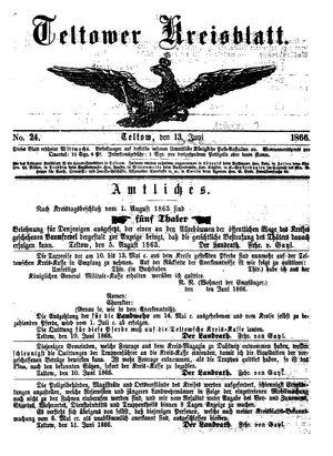 Teltower Kreisblatt vom 13.06.1866