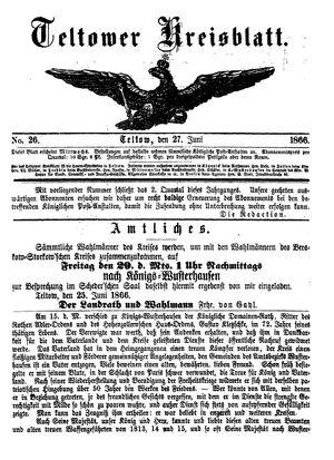 Teltower Kreisblatt vom 27.06.1866